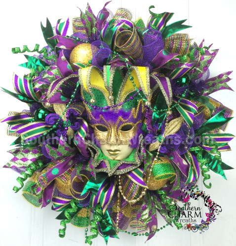 How to make deco mesh mardi gras wreath
